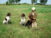 Zdjęcie po polowaniu - Elena z Atosem, Jagą i Florą.