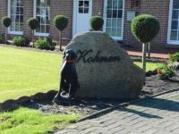 Psi posąg przed domem zwycięzcy mojej grupy