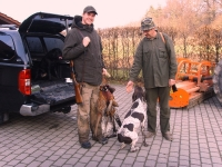 Powrót z bażantów - Maciek, Jaga, Flora i ja listopad 2010