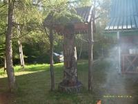 Piękny drewniany posąg patronujący myśliwym