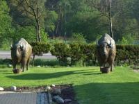 Tylko posągi żubrów zachowują kamienny spokój wypięte w kierunku ciepłokrwistych pobratymców w rezerwacie za drogą