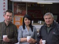 Aleksander i Anatol z żoną szefowie Ukraińskiego Klubu Wyżła Krótkowłosego - spotkanie na wystawie