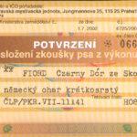 FIORD Certyfikat użytkowości Czechy - awers