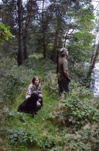 Marta z Bubą, ja wypatruję kaczek, Maciek robi zdjęcia