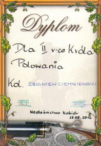 Dyplom wice króla polowania Kobiór 25.08.2012